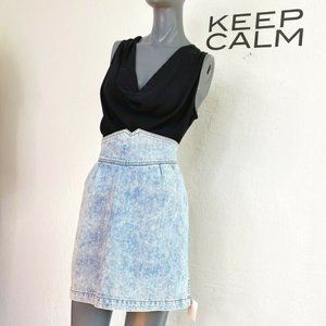 LF Carmar High Waist Denim Skirt Blue 29 Acid Wash